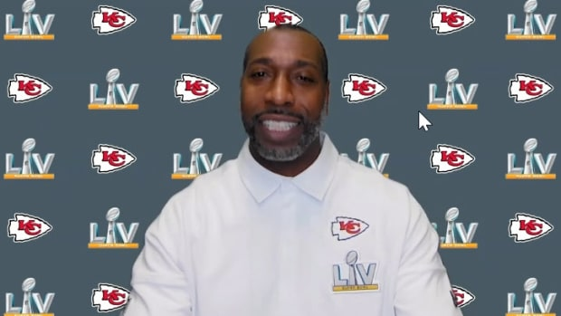 Feb. 2, 2021: Kansas City Chiefs defensive backs coach Sam Madison speaks to reporters virtually during Super Bowl LV media availabilities.