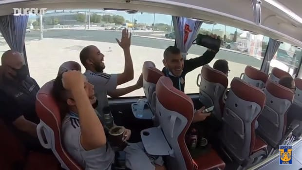 Tigres players sing on their way back from training