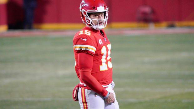Jan 24, 2021; Kansas City, Missouri, USA; Kansas City Chiefs quarterback Patrick Mahomes (15) on field in the AFC Championship Game against the Buffalo Bills at Arrowhead Stadium.