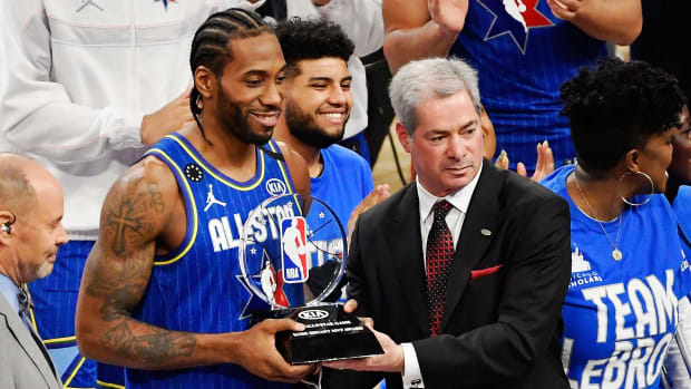 Clippers forward Kawhi Leonard wins the MVP award at the 2020 NBA All-Star Game.
