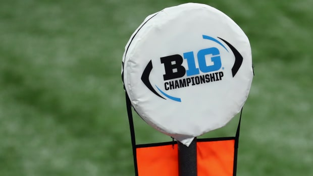 Dec 19, 2020; Indianapolis, Indiana, USA; A Big 10 Championship logo is seen atop a yardage marker during the first half between the Ohio State Buckeyes and the Northwestern Wildcats at Lucas Oil Stadium.