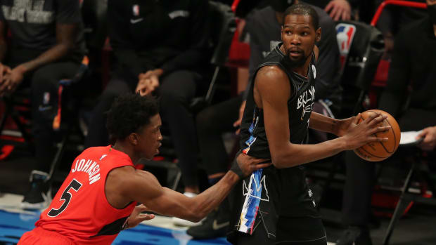 Kevin Durant faces off against the Raptors at the Barclays Center on Feb. 5, 2021.