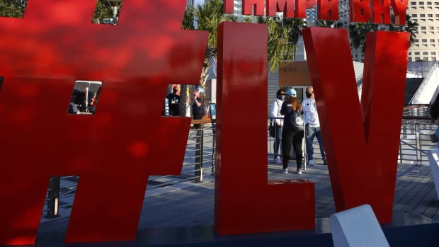 Feb 5, 2021; Tampa, Florida, USA; A general view of Downtown Tampa at Curtis Hixon Waterfront Park for Super Bowl LV.
