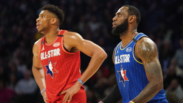 LeBron James and Giannis Antetokounmpo compete during the 2020 NBA All-Star Game.