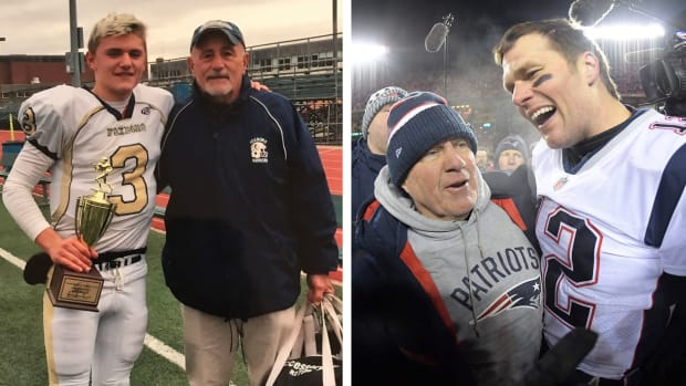 Mark Clagg, aka 'Johnny Foxborough' with his coach, and Tom Brady, then of the Patriots, with his coach