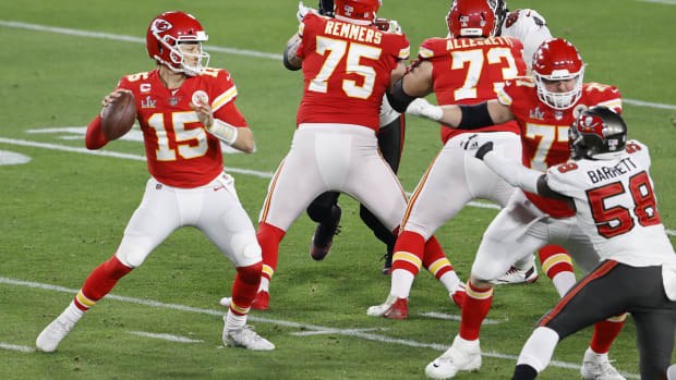 Feb 7, 2020; Tampa, FL, USA; Kansas City Chiefs quarterback Patrick Mahomes (15) drops back to pass against the Tampa Bay Buccaneers during the second quarter of Super Bowl LV at Raymond James Stadium. Mandatory Credit: Kim Klement-USA TODAY Sports