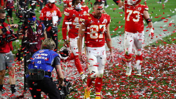 Feb 7, 2021; Tampa, FL, USA; Kansas City Chiefs tight end Travis Kelce (87) walks off the field after losing to the Tampa Bay Buccaneers in Super Bowl LV at Raymond James Stadium. Mandatory Credit: Matthew Emmons-USA TODAY Sports