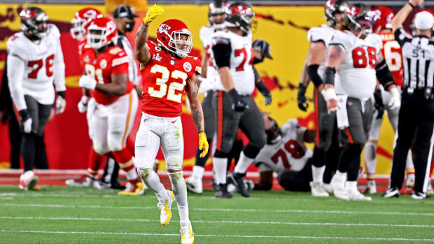 Feb 7, 2021; Tampa, FL, USA; Kansas City Chiefs strong safety Tyrann Mathieu (32) celebrates after a play during the second quarter against the Tampa Bay Buccaneers in Super Bowl LV at Raymond James Stadium. Mandatory Credit: Matthew Emmons-USA TODAY Sports