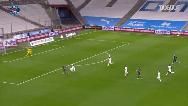 Kylian Mbappé 's opens scoring against Marseille in Le Classique