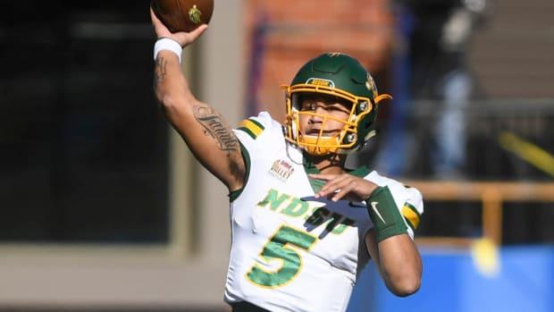 NDSU quarterback Trey Lance (5) prepares to make a pass in the Dakota Marker game against the Jacks on Saturday, Oct. 26, 2019 at Dana J. Dykhouse Stadium in Brookings, S.D. Sdsuvsndsu1345
