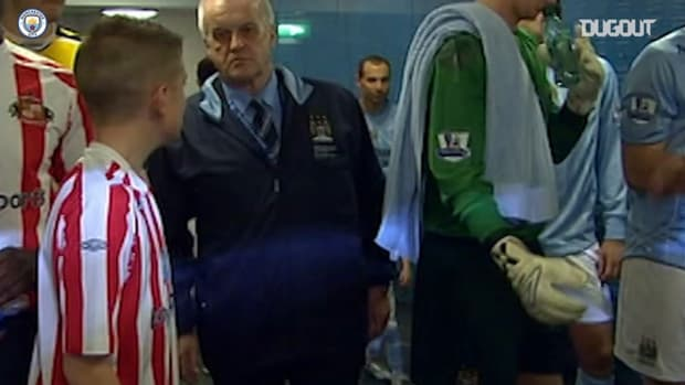 Phil Foden leads out Man City as a mascot, aged seven