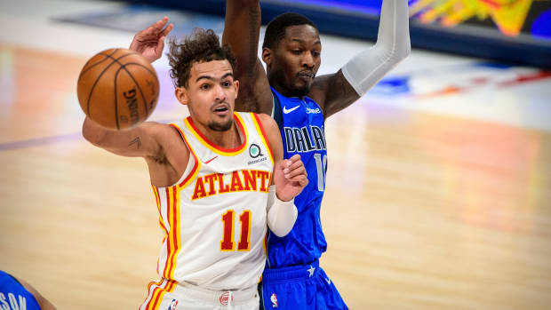 Hawks guard Trae Young plays against the Dallas Mavericks on Feb. 10.