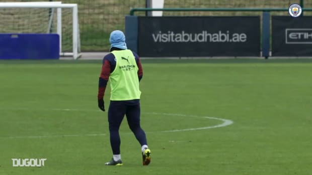 Agüero in Manchester City training ahead of Everton clash