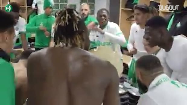 Saint-Etienne's celebrations after win at Rennes