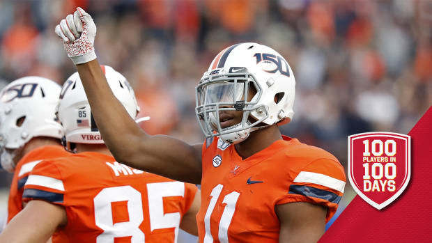 Oct 19, 2019; Charlottesville, VA, USA; Virginia Cavaliers linebacker Charles Snowden (11) celebrates on the field against the Duke Blue Devils in the third quarter at Scott Stadium. Mandatory Credit: Geoff Burke-USA TODAY Sports