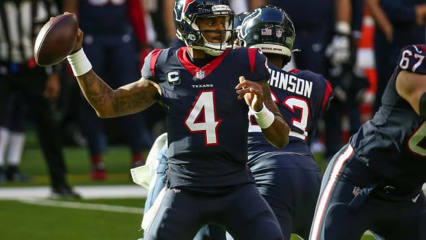 Jan 3, 2021; Houston, Texas, USA; Houston Texans quarterback Deshaun Watson (4) throws a pass against the Tennessee Titans during the first quarter at NRG Stadium. Mandatory Credit: Troy Taormina-USA TODAY Sports