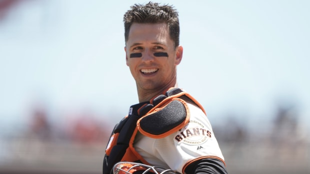 Giants catcher Buster Posey plays against the Diamondbacks on June 30, 2019.