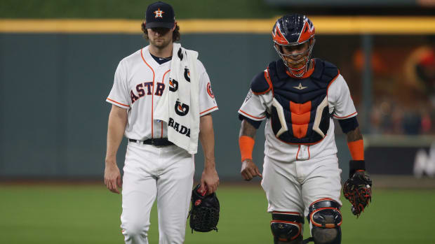 Gerrit Cole with catcher Robinson Chirinos on Houston Astros