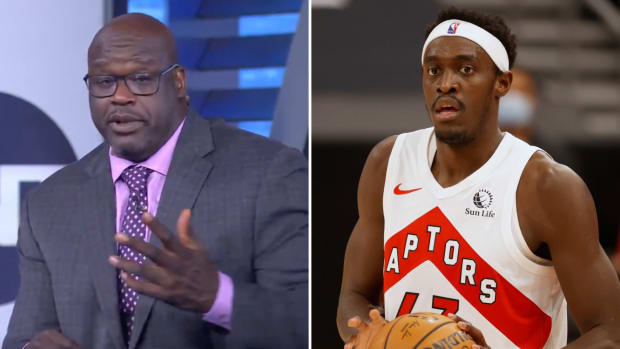 Side-by-side image of Shaquille O'Neal and Pascal Siakam