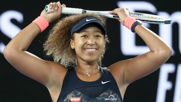 Naomi Osaka reacts after winning the 2021 Australian Open final match over Jennifer Brady.