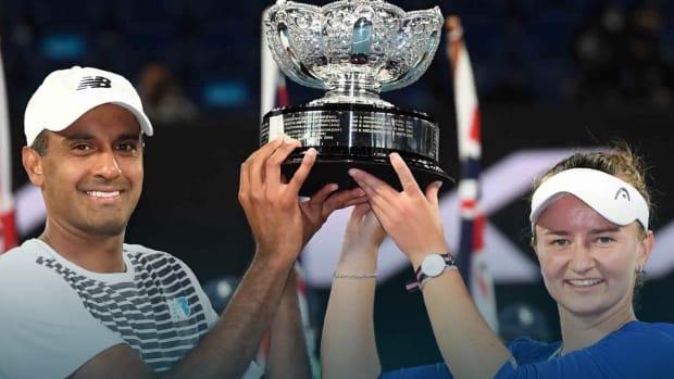 Rajeev Ram and partner hoist Aussie Open mixed doubles trophy