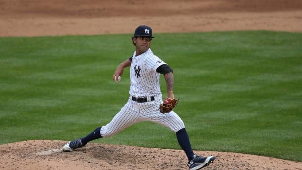 Deivi Garcia pitching at Yankee Stadium