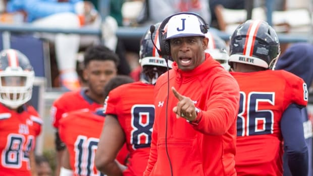 Deion Sanders coaches for Jackson State against Edward Waters on Sunday, Feb. 21, 2021.