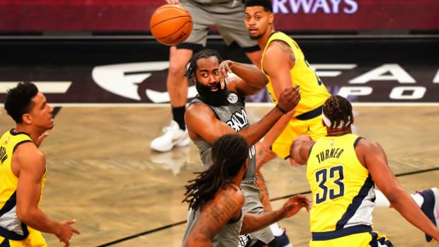 James Harden passes against Pacers