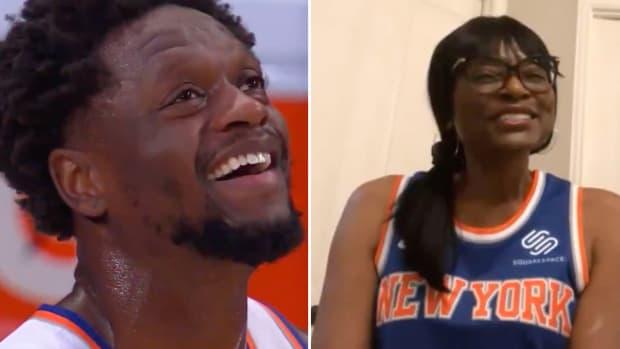 Knicks F Julius Randle's mom surprises him with jumbotron message