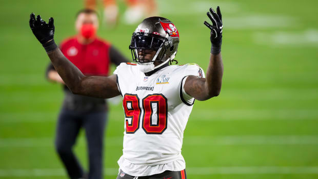 Feb 4, 2021; Tampa, FL, USA; Tampa Bay Buccaneers linebacker Jason Pierre-Paul (90) reacts against the Kansas City Chiefs in Super Bowl LV at Raymond James Stadium.