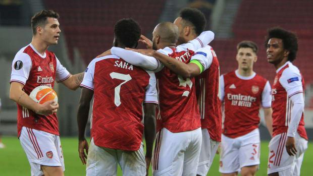 Arsenal celebrates a Europa League win over Benfica