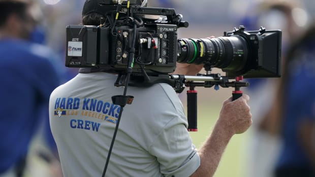 Aug 21, 2020; Thousand Oaks, CA, USA; A HBO Hard Knocks cameraman films video footage during Los Angeles Rams training camp at Cal Lutheran University.