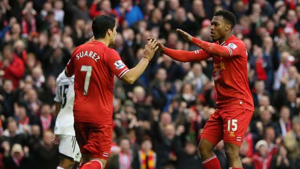 Suarez and Sturridge celebrate a goal