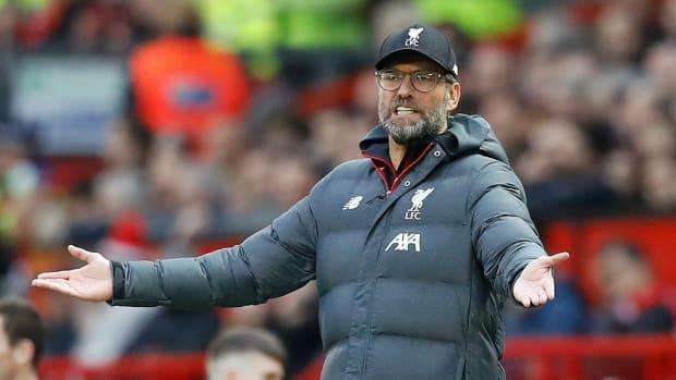 Jurgen Klopp looks agitated on the touchline at Anfield