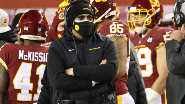 Washington Football Team head coach Ron Rivera looks on from the sidelines against the Carolina Panthers at FedExField.