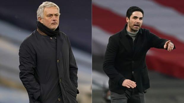Tottenham's Jose Mourinho and Arsenal's Mikel Arteta