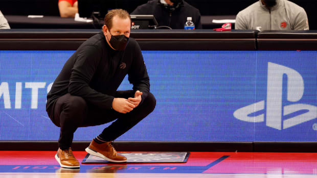 Feb 21, 2021; Tampa, Florida, USA; Toronto Raptors head coach Nick Nurse during the first quarter at Amalie Arena.