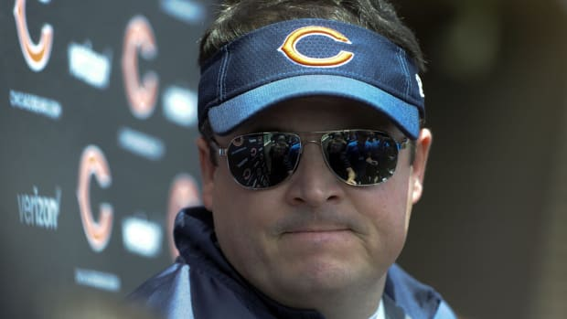 Chicago Bears offensive coordinator Dowell Loggains addresses the media after the Bear's Rookie Minicamp workout at Halas Hall.