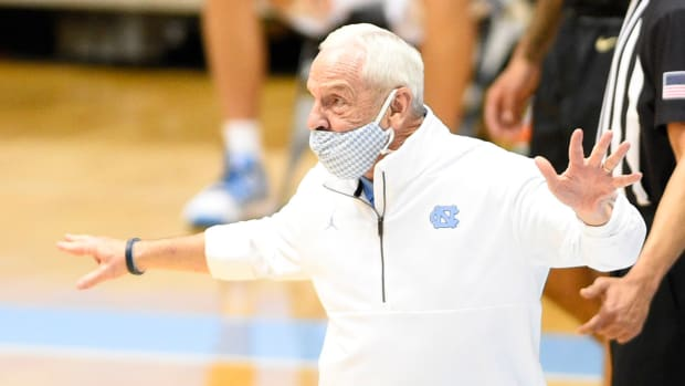Feb 27, 2021; Chapel Hill, North Carolina, USA; North Carolina Tar Heels head coach Roy Williams reacts in the first half at Dean E. Smith Center.