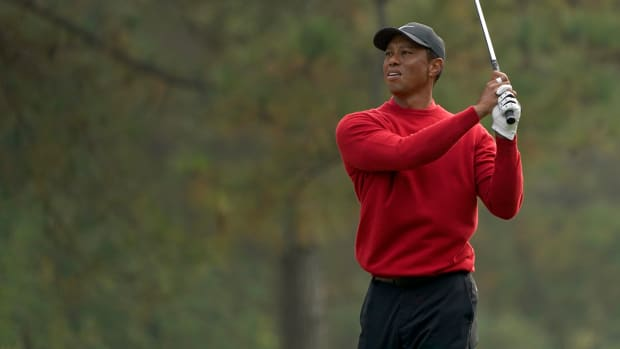 Tiger Woods during the final round of The Masters golf tournament at Augusta National GC