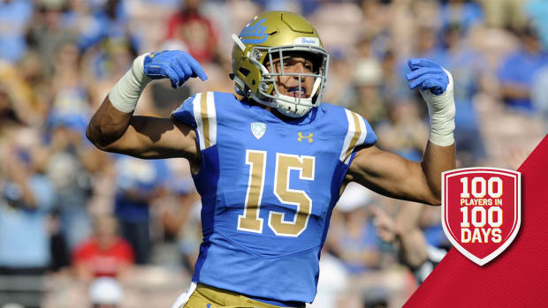 September 1, 2018; Pasadena, CA, USA; UCLA Bruins linebacker Jaelan Phillips (15) reacts after a defensive play against the Cincinnati Bearcats during the first half at the Rose Bowl. Mandatory Credit: Gary A. Vasquez-USA TODAY Sports