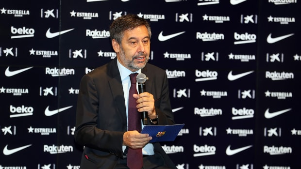 Former Barcelona president Josep Maria Bartomeu speaks at an event