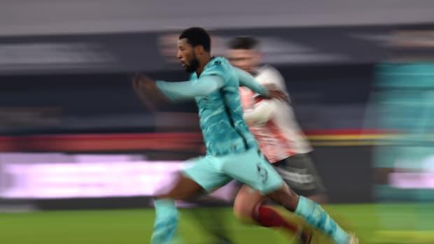 Liverpool midfielder Georginio Wijnaldum in action against Sheffield United at Bramall Lane