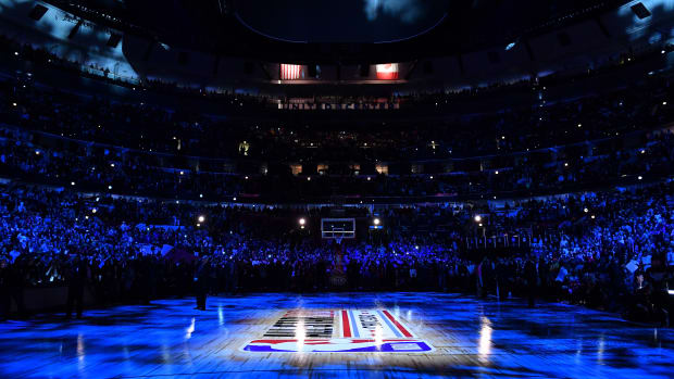 NBA All-Star Weekend court ahead of the game