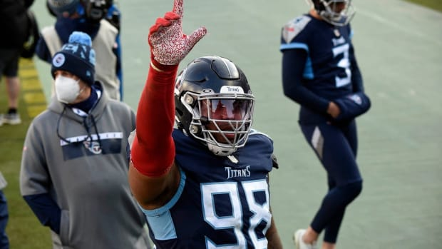 Tennessee Titans defensive tackle Jeffery Simmons (98) leaves the field after losing to the Baltimore Ravens in Nashville on January 10, 2021.