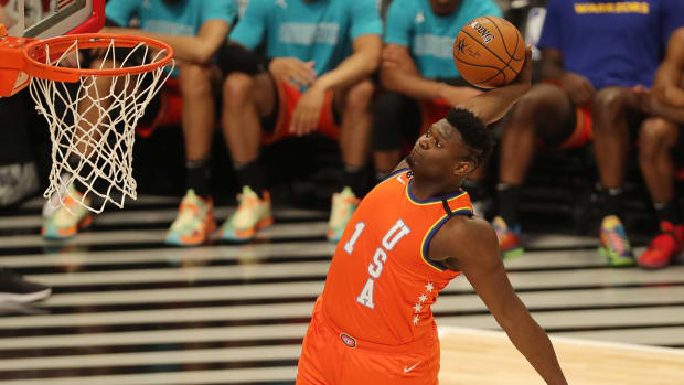 Zion Williamson dunking the ball during the 2020 Rising Stars Game.