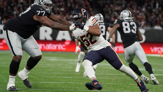 Oct 6, 2019; London, United Kingdom; Chicago Bears outside linebacker Khalil Mack (52) is defended by Oakland Raiders offensive tackle Trent Brown (77) during an NFL International Series game at Tottenham Hotspur Stadium. The Raiders defeated the Bears 24-21. Mandatory Credit: Kirby Lee-USA TODAY Sports