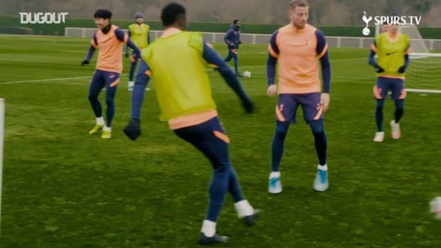Training focus: Spurs stars train hard ahead of Fulham
