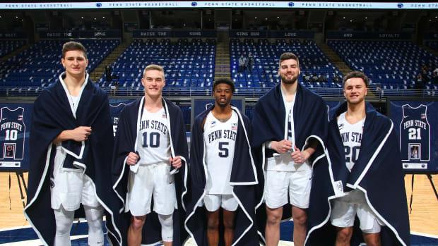 Penn State men's basketball seniors (left to right) John Harrar, Kyle McCloskey, Jamari Wheeler, Trent Buttrick and Taylor Nussbaum.