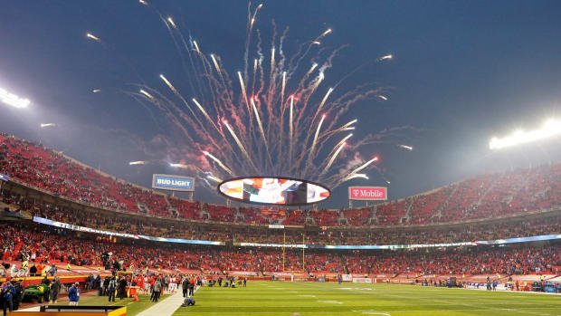 Jan 24, 2021; Kansas City, Missouri, USA; Fireworks are set off as players take the field before the game between the Kansas City Chiefs and Buffalo Bills in the AFC Championship Game at Arrowhead Stadium. Mandatory Credit: Denny Medley-USA TODAY Sports